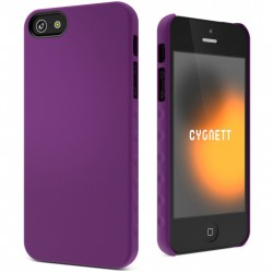 Cygnett - CY0830CPAEG - Cygnett AeroGrip Feel Snap-On Case iPhone 5 - iPhone - Purple - Textured - Rubberized, High Gloss - Polycarbonate