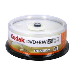 Kodak - 50129 - Kodak DVD Rewritable Media - DVD+RW - 16x - 4.70 GB - 25 Pack Spindle - 120mm - 2 Hour Maximum Recording Time