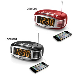 Akai - CE1500R - Akai Ce1500r Red Clock Radio Retro Am Fm Ppl Radio Wake Up