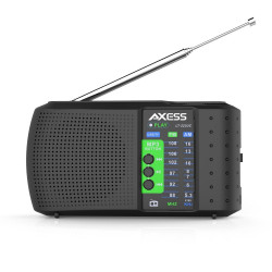 Axess - PR3206BK - Axess Pr3206bk Black Personal Clock Radio With Am Fm Radio
