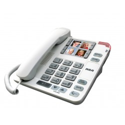 RCA - 1123-1WTGA - Amplified Big Button Picture Corded Phone System, White