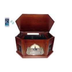 Boytone - BT25MB - Boytone Bt25mb Wood Turntable 8 In 1 Classic Audio System
