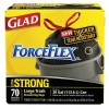 Glad - 70358 - 30 gal. Extra Heavy Drawstring Trash Bags, Black, Coreless Roll of 70