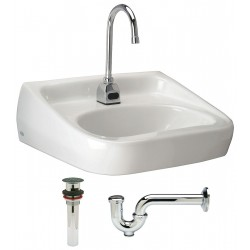 Zurn - Z5361.604.1.07.00.0 - Vitreous China Wall Bathroom Sink Kit With Faucet, 16-1/2 x 10-1/4 Bowl Size