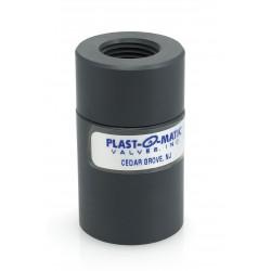 Plast-O-Matic Valves - CKD025V-PV - 1/4 Check Valve, PVC, FNPT Connection Type
