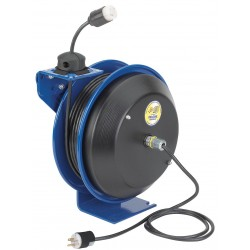 Coxreels / Coxwells - EZ-PC13-5012-A - Blue Retractable Cord Reel, 20 Max. Amps, Cord Ending: Single Industrial Connector