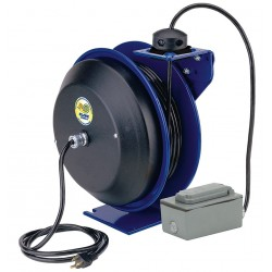 Coxreels / Coxwells - EZ-PC13-5012-F - Blue Retractable Cord Reel, 20 Max. Amps, Cord Ending: Duplex GFCI Box Receptacle