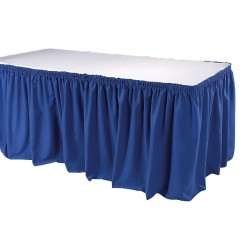 Phoenix Textile Industries - TSKT-17-BL - 17-1/2 ft. x 29 Hook-and-Loop Table Skirt, Royal Blue