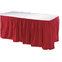 Phoenix Textile Industries - TSKT-17-RD - 17-1/2 ft. x 29 Hook-and-Loop Table Skirt, Red