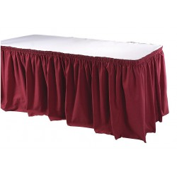Phoenix Textile Industries - TSKT-21-BG - 21-1/2 ft. x 29 Hook-and-Loop Table Skirt, Burgundy