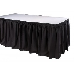 Phoenix Textile Industries - TSKT-21-BK - 21-1/2 ft. x 29 Hook-and-Loop Table Skirt, Black