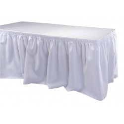 Phoenix Textile Industries - TSKT-21-WH - 21-1/2 ft. x 29 Hook-and-Loop Table Skirt, White