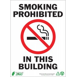 Zing Enterprises - 1086A - No Smoking, Aluminum, 7 x 10, Surface