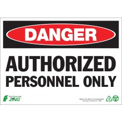 Zing Enterprises - 1090A - Authorized Personnel and Restricted Access, Danger, Aluminum, 7 x 10, Surface
