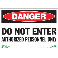 Zing Enterprises - 1094A - Authorized Personnel and Restricted Access, Danger, Aluminum, 7 x 10, Surface