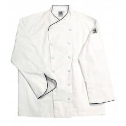 San Jamar - J008-M - Long Sleeve Men's Chef Jacket with Cross Collar, White, M