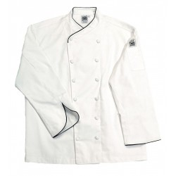 San Jamar - J008-XL - Long Sleeve Men's Chef Jacket with Cross Collar, White, XL