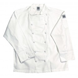 San Jamar - J015-M - Long Sleeve Men's Chef Jacket with Traditional Collar, White, M