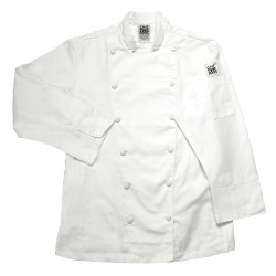 San Jamar - LJ025-S - Long Sleeve Ladies Chef Jacket with Mandarin Collar, White, S