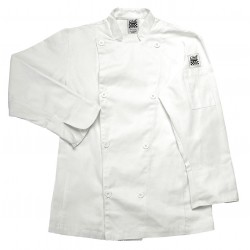San Jamar - LJ027-3X - Long Sleeve Ladies Chef Jacket with Mandarin Collar, White, 3X