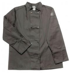 San Jamar - J061BK-2X - Long Sleeve Unisex Crew Jacket with Mandarin Collar, Black, 2X