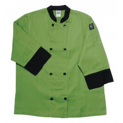 San Jamar - J134MT-L - 3/4 Sleeve Unisex Crew Jacket with Mandarin Collar, Green, L