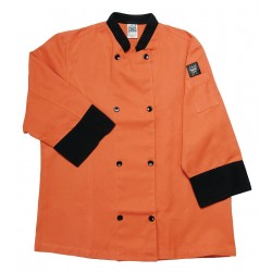 San Jamar - J134SP-S - 3/4 Sleeve Unisex Crew Jacket with Mandarin Collar, Spice, S