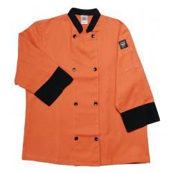 San Jamar - J134SP-L - 3/4 Sleeve Unisex Crew Jacket with Mandarin Collar, Spice, L