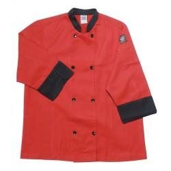 San Jamar - J134TM-5X - 3/4 Sleeve Unisex Crew Jacket with Mandarin Collar, Red, 5X