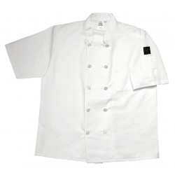 San Jamar - J105-M - Short Sleeve Unisex Crew Jacket with Mandarin Collar, White, M