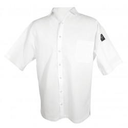 San Jamar - CS006WH-M - Short Sleeve Unisex Cook Shirt with Dress Collar, White, M