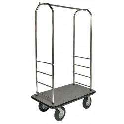 Central Specialties - 2000GY-020-GRY - 73 Metal Bellman Cart with Gray Carpet and Chrome Finish