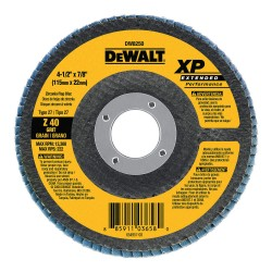 Dewalt - DW8250 - Flap Disc, Dia. 4.5 In, AH 7/8 In, 40 Grit