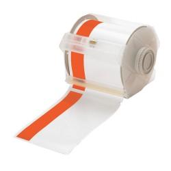 Brady - 113162 - White/Orange Vinyl Film Label Tape Cartridge, Indoor/Outdoor Label Type, 100 ft. Length, 4 Width