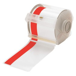 "Brady - 113161 - White/Red Vinyl Film Label Tape Cartridge, Indoor/Outdoor Label Type, 100 ft. Length, 4"" Width"