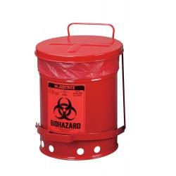 Justrite - 05910R - Biohazard Waste Container, 15 In. W