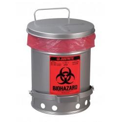 Justrite - 05914 - Biohazard Waste Container, 6 gal., Silver