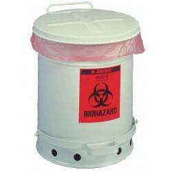 Justrite - 05934 - Biohazard Waste Container, Silver, Steel