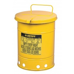 Justrite - 09711 - Yellow Galvanized Steel Oily Waste Can, 21 gal. Capacity, Hand Operated Self Closing Lid Type