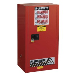 Justrite - 891511 - Justrite 20 Gallon Red Sure-Grip EX 18 Gauge Cold Rolled Steel Safety Cabinet With (1) Manual Close Door And (2) Shelves (For Combustibles), ( Each )