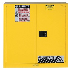 "Justrite - 893030 - 43"" x 18"" x 44"" Galvanized Steel Paint and Ink Safety Cabinet with Self-Closing Doors, Yellow"
