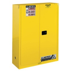 Justrite - 894530 - Justrite 60 Gallon Yellow Sure-Grip EX 18 Gauge Cold Rolled Steel Safety Cabinet With (2) Self-Closing Doors And (5) Shelves (For Combustibles), ( Each )