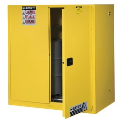 "Justrite - 899070 - (2) 30 gal. Hazardous Waste and Drum Storage Cabinet, 65"" x 43"" x 34"", Self-Closing Door Type"