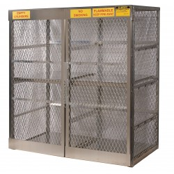Justrite - 23011 - Justrite 60' X 65' X 32' Aluminum Vertical 16 Cylinder Storage Locker With (2) Manual Close Doors And (2) Shelves (For Flammables), ( Each )