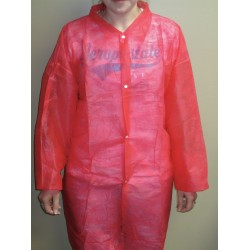 Action Chemical - A-RLC-XL - Red Polypropylene Disposable Lab Coat, Size: XL