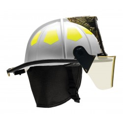 Bullard - UM6WH6L - White Fire Helmet with TrakLite, Shell Material: Fiberglass, 6-Point Sure-Lock Ratchet Suspension,