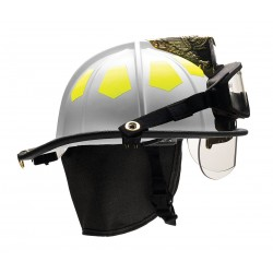 Bullard - UM6WH6BBRK2 - White Fire Helmet with TrakLite, Shell Material: Fiberglass, 6-Point Sure-Lock Ratchet Suspension,