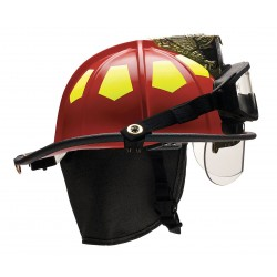 Bullard - UM6RD6BBRK2 - Red Fire Helmet with TrakLite, Shell Material: Fiberglass, 6-Point Sure-Lock Ratchet Suspension, Fi