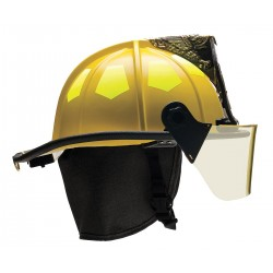 Bullard - UM6YL6L - Yellow Fire Helmet with TrakLite, Shell Material: Fiberglass, 6-Point Sure-Lock Ratchet Suspension,