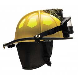 Bullard - UM6YL6LGIZ2 - Yellow Fire Helmet with TrakLite, Shell Material: Fiberglass, 6-Point Sure-Lock Ratchet Suspension,